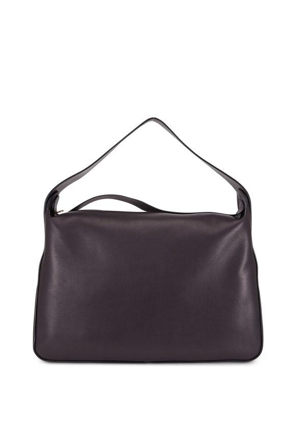 The Row Black Leather Large Saddle Hobo Bag