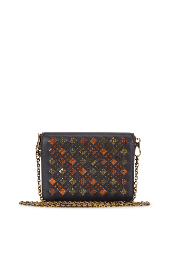 Bottega Veneta Multicolor Intrecciato & Snakeskin Chain Wallet