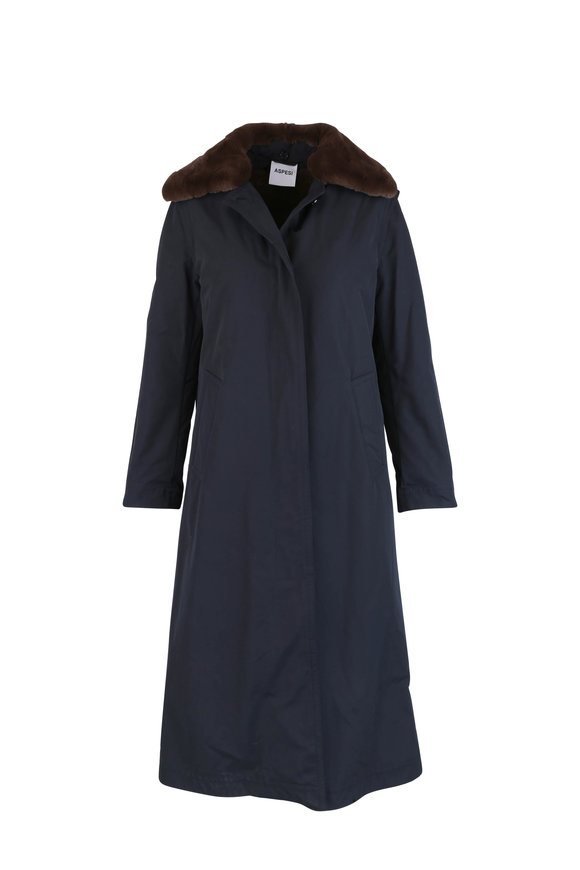 Aspesi Navy Blue Nylon Fur Collar Long Coat