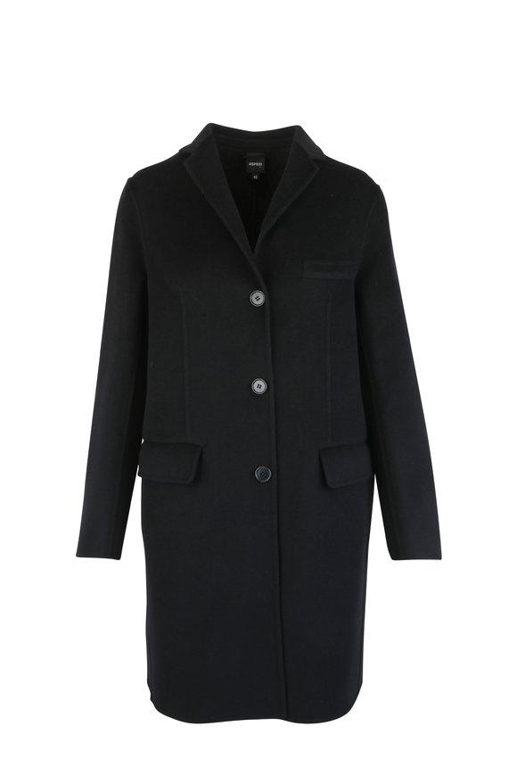 Aspesi Black Wool & Cashmere Coat