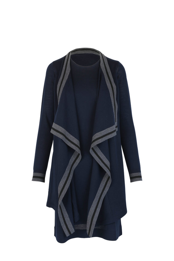 Paule Ka Marine Stretch Wool Cardigan Dress