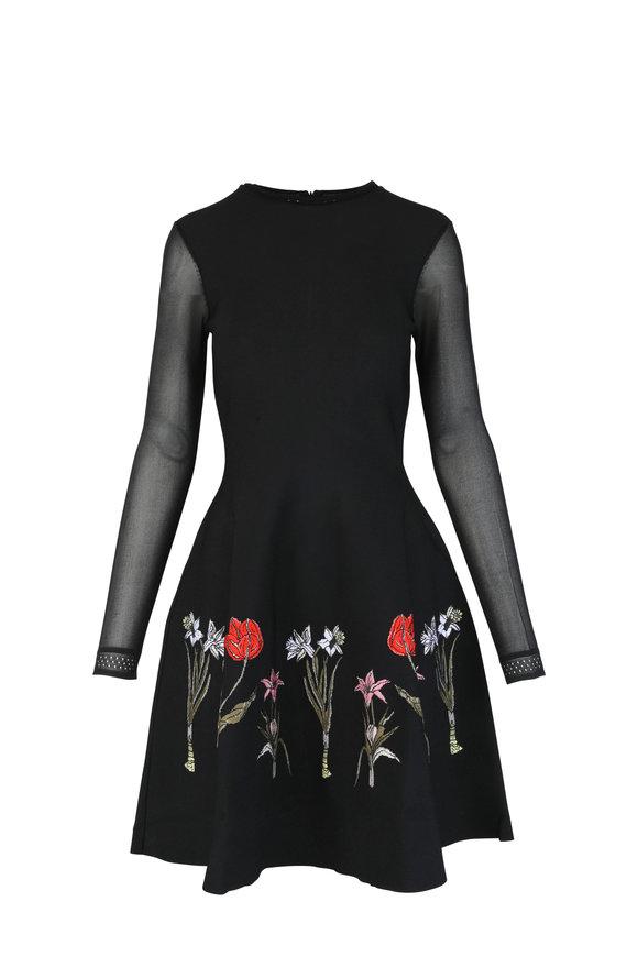 Oscar de la Renta Black Floral Embroidered Sheer Sleeve Dress