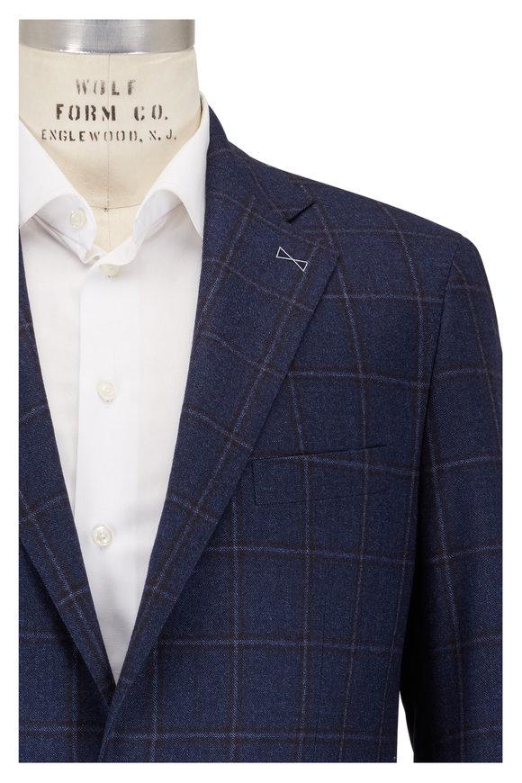 Atelier Munro Navy Blue Plaid Wool Sportcoat