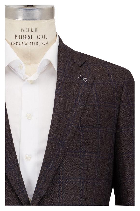 Atelier Munro Navy Blue & Brown Plaid Wool Sportcoat