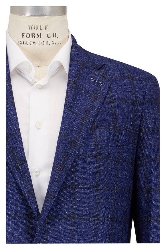 Atelier Munro Navy Blue Windowpane Wool Sport Coat