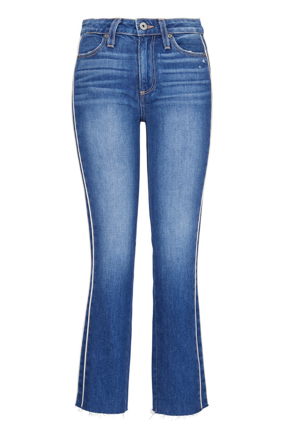 Paige Denim Hoxton White Piping Straight Ankle Jean