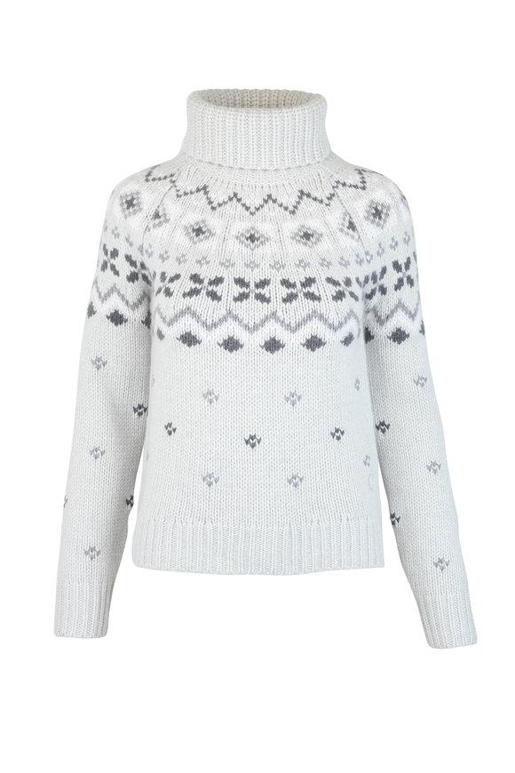 Bogner Sinta Gray Cashmere Intarsia Turtleneck Sweater
