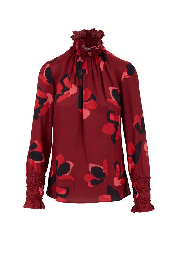 Akris Punto Burgundy Anemone Floral Silk Smocked Blouse