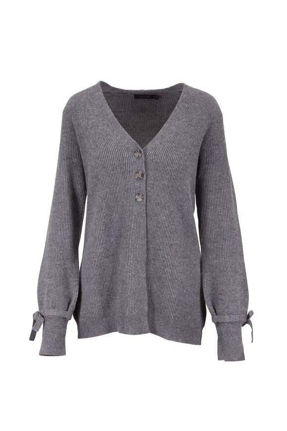 Raffi  Granite Gray Cashmere English Rib Cardigan