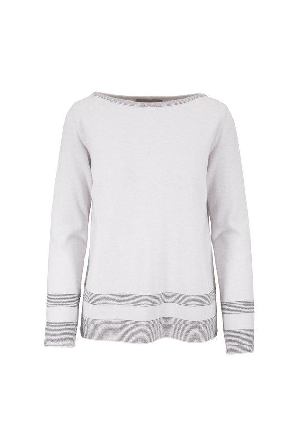 D.Exterior  Pearl Gray Metallic Stripe Bateau Neck Sweater