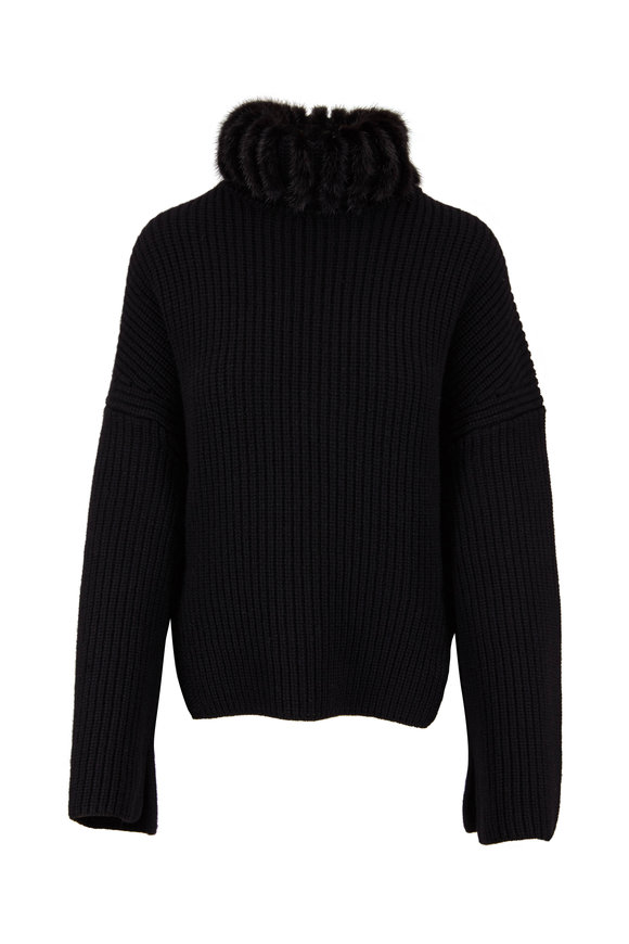 Fendi Black Rib Cashmere With Mink Turtleneck Sweater