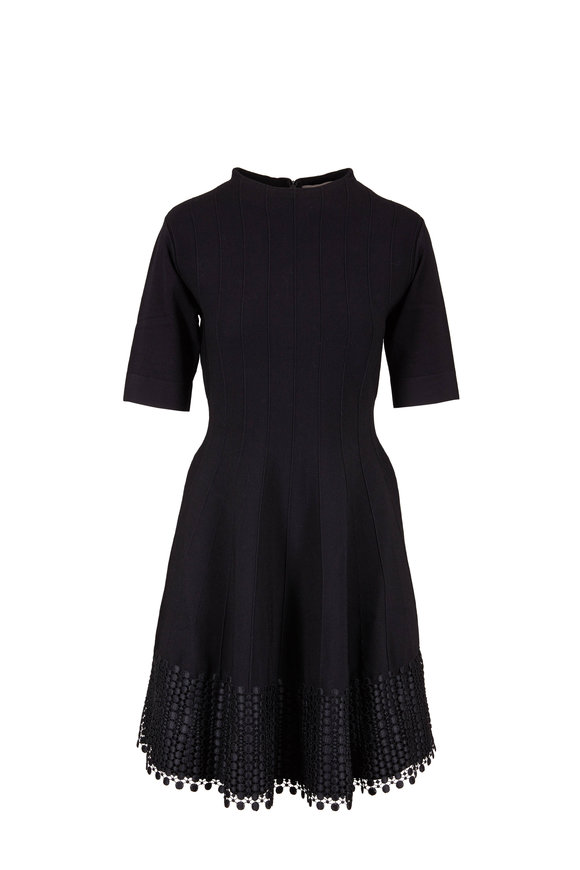 Lela Rose Black Knit Dot Guipure Lace Hem Dress