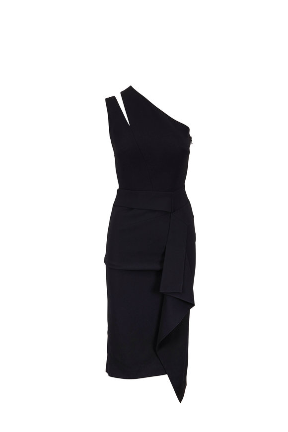 Roland Mouret Jagger Black Stretch Crêpe One-Shoulder Dress