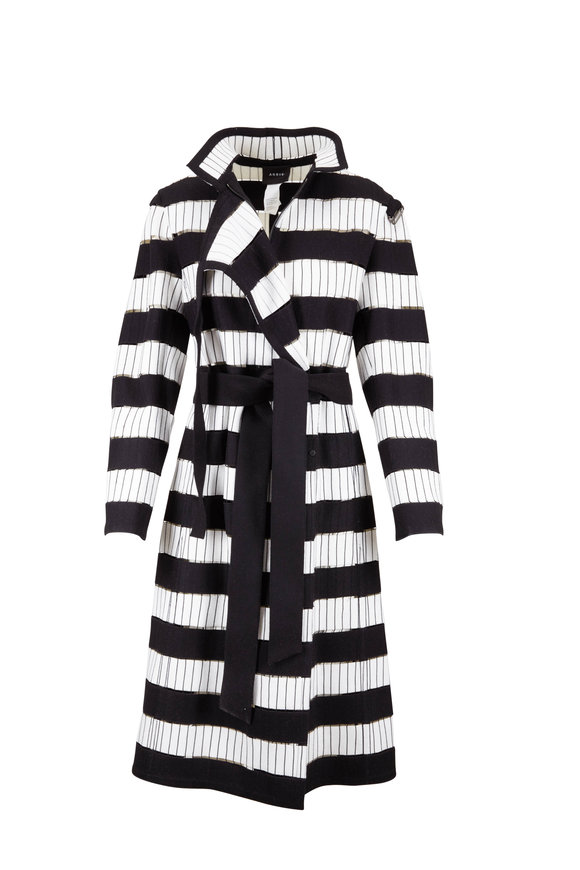 Akris Josephine Black & White Bold-Striped Belted Coat