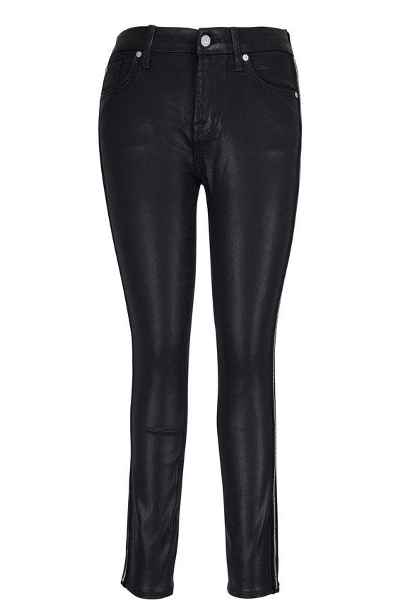 7 For All Mankind Black Velvet & Zip Trim Coated Ankle Skinny Jean