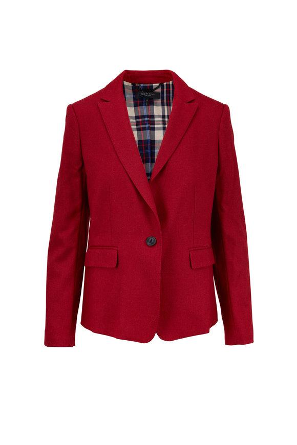 Rag & Bone Lexington Red Melange Felt Tailored Blazer
