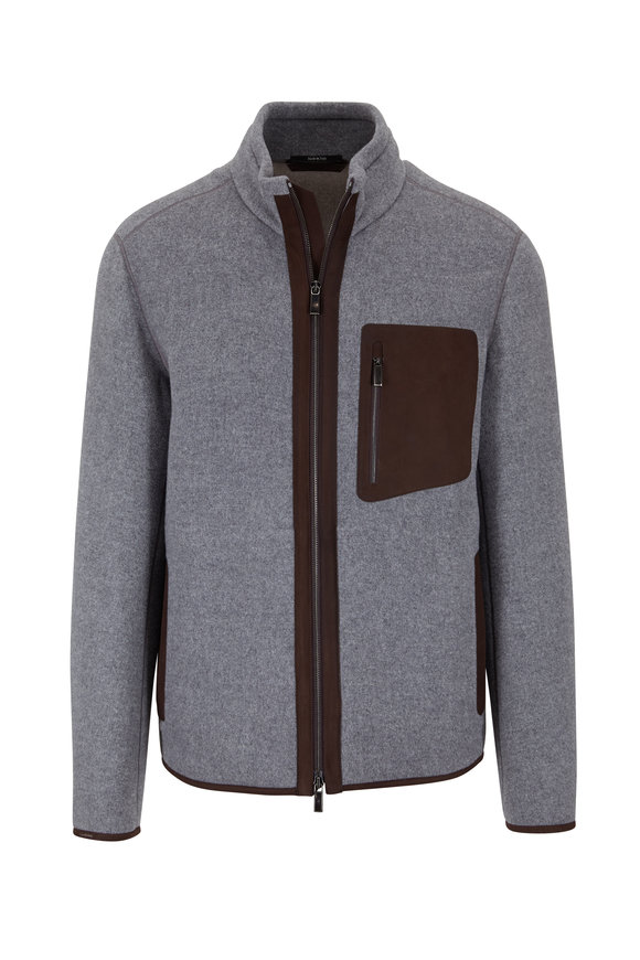 Ermenegildo Zegna Gray Wool, Cashmere & Suede Fleece Jacket