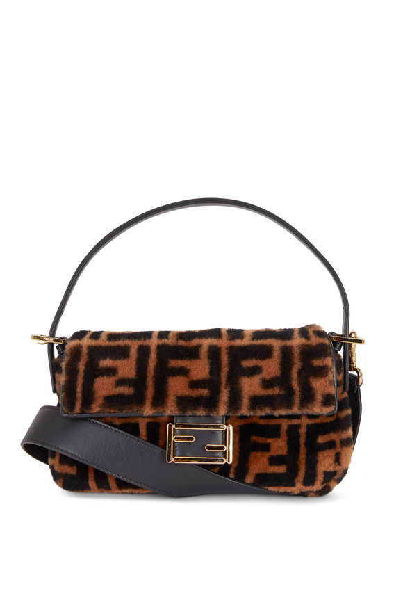 Fendi Tobacco Sheepskin Logo Embossed Baguette