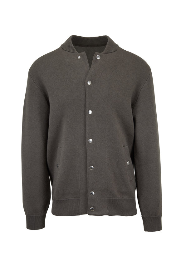 Brunello Cucinelli Olive Green Wool & Cashmere Front-Snap Cardigan