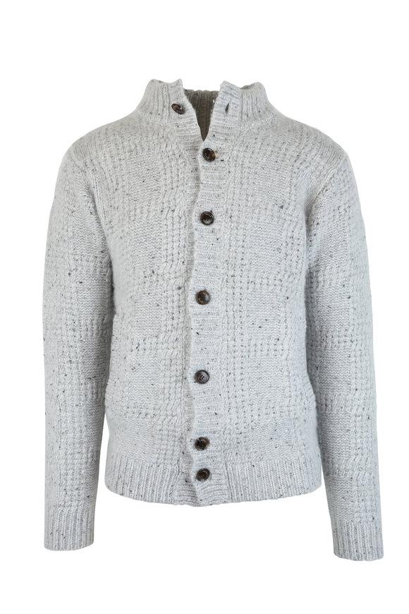 Peter Millar Light Gray Cashmere Button Cardigan