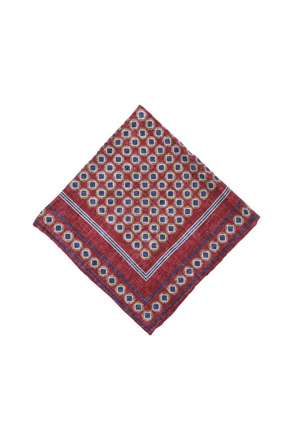 Brunello Cucinelli Red & Blue Geometric Silk Pocket Square