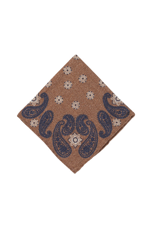 Brunello Cucinelli Light Brown Paisley Wool Pocket Square