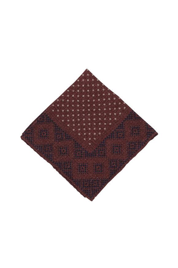 Brunello Cucinelli Plum Geometric Wool Pocket Square