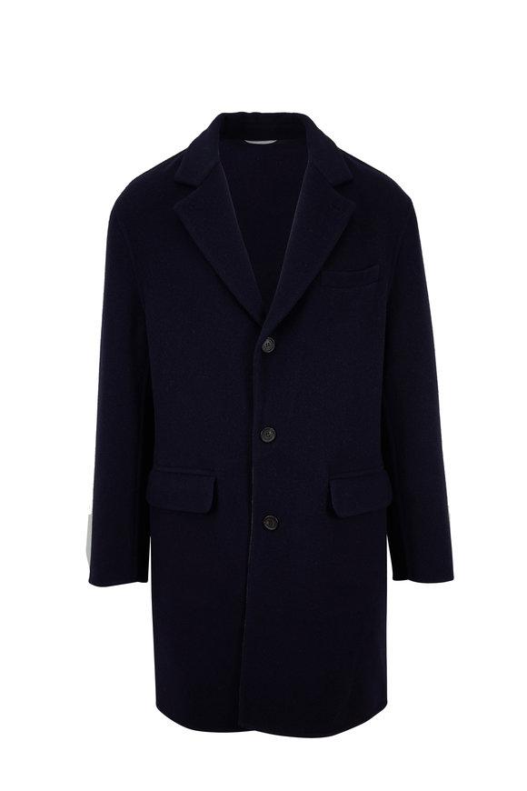 Brunello Cucinelli Navy Double-Faced Wool & Silk Topcoat