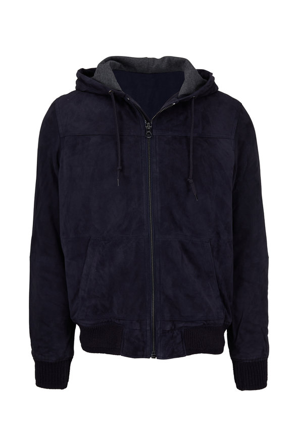 Michael Bastian Navy Blue Suede Jacket With Hood