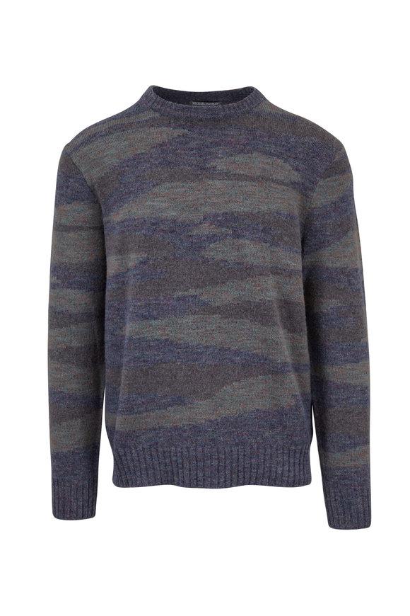 Michael Bastian Slate Blue Camo Crewneck Sweater