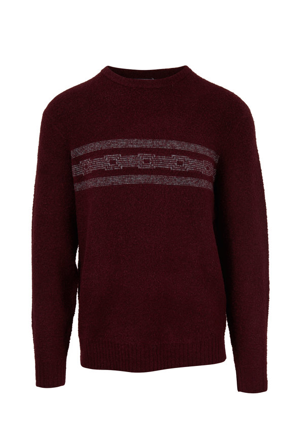 Michael Bastian Burgundy Front Striped Crewneck Sweater