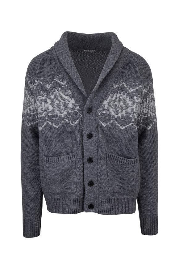 Michael Bastian Heather Gray Shawl Collar Button Cardigan