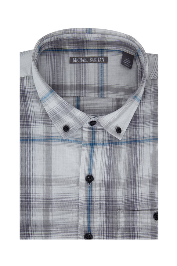 Michael Bastian Light Gray Plaid Sport Shirt