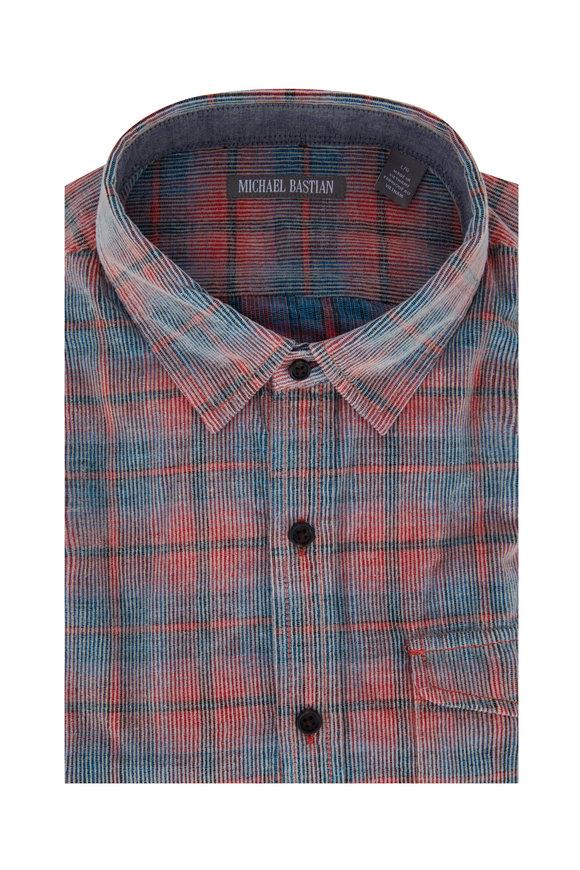 Michael Bastian Poppy Multicolor Corduroy Plaid Sport Shirt