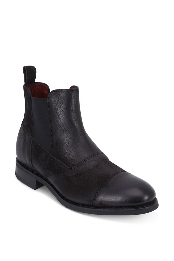 Paraboot Breguet Black Leather Cap-Toe Boot