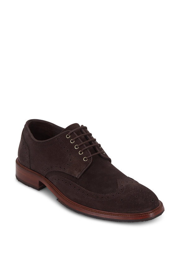 Trask Logan Charcoal English Suede Wingtip Oxford