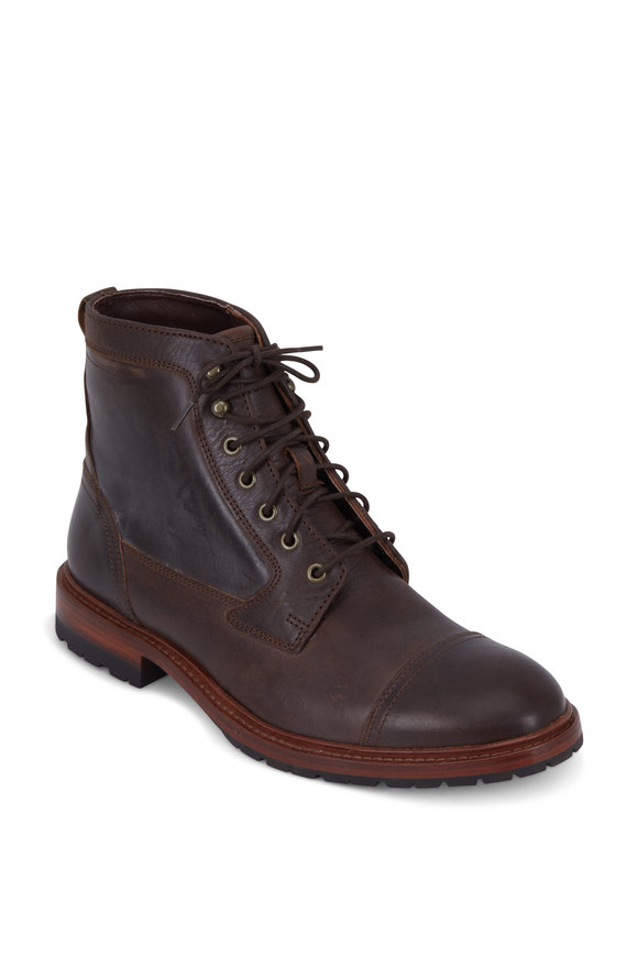 Trask Lowell Dark Brown Italian Steer Lace-Up Boot