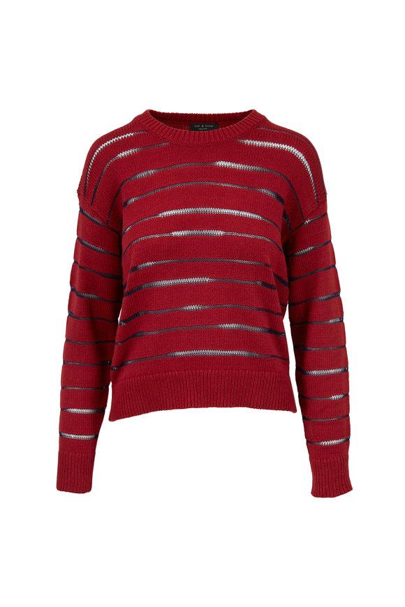 Rag & Bone Penn Red & Navy Striped Crewneck Sweater