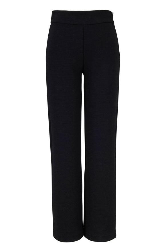 Emporio Armani Black Jersey High-Rise Side Zip Pant