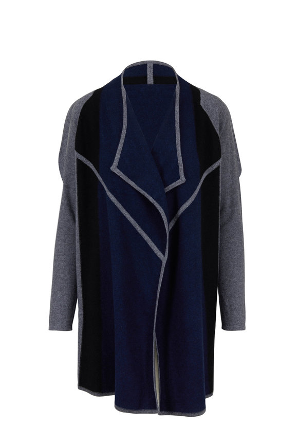 Kinross Navy Blue & Gray Colorblock Cashmere Cardigan