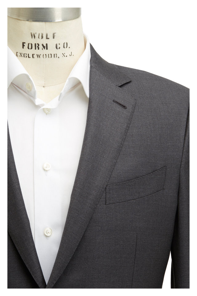 Solid Gray Worsted Wool Suit