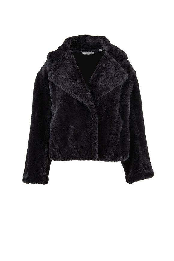 Vince Iron Plush Faux Fur Coat