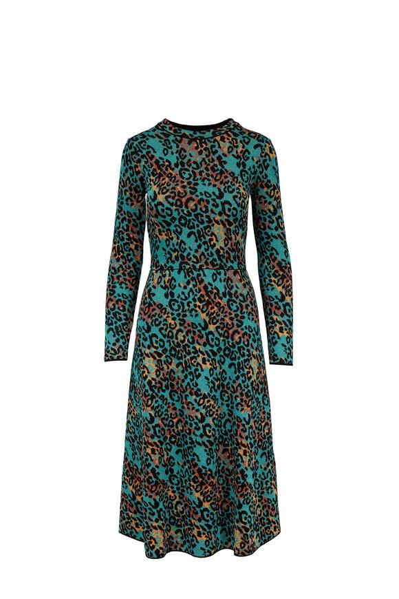 M Missoni Turquoise Metallic Leopard Print Knit Dress