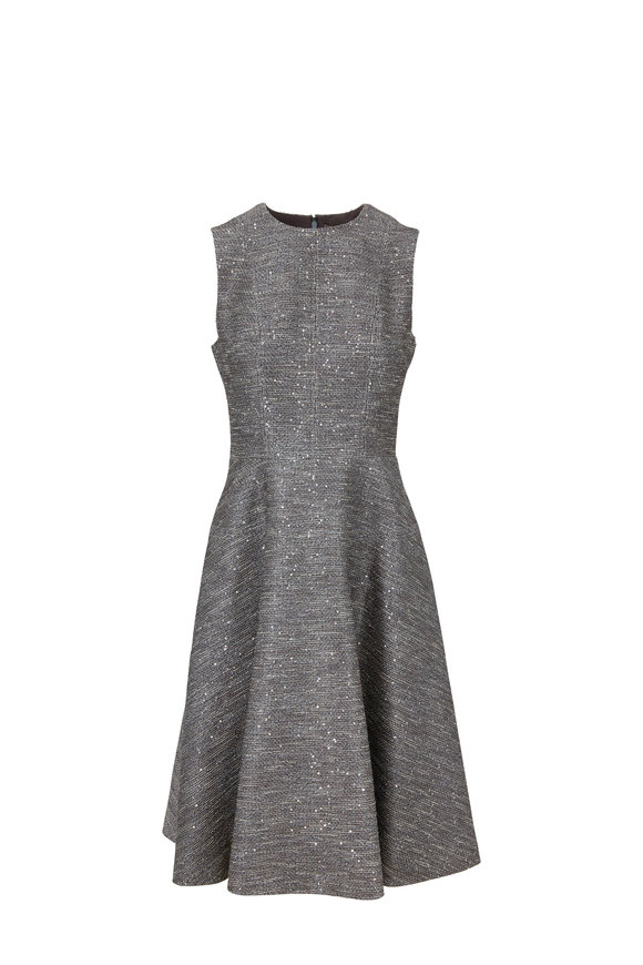 Lela Rose Smoke Gray Tweed Sequin Fit & Flare Dress