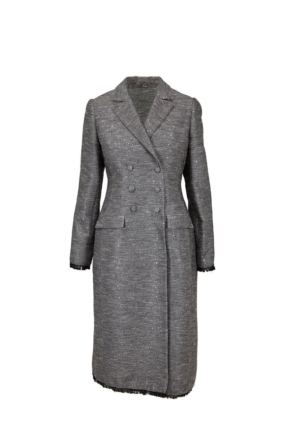 Lela Rose Smoke Gray Tweed Sequin Double-Breasted Coat
