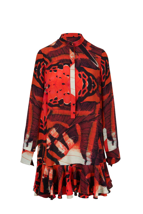 Alexander McQueen Black Painted Lady Butterfly Long Sleeve Dress