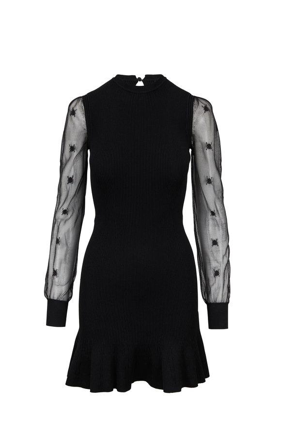 Alexander McQueen Black Sheer Long Sleeve Bug Detail Dress