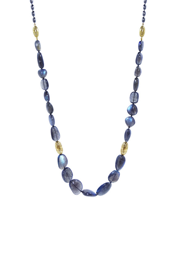 Ray Griffiths 18K Yellow Gold Labradorite Bead Necklace
