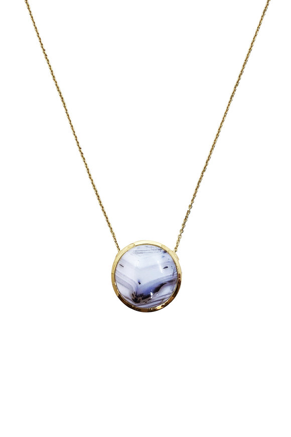 Ray Griffiths 18K Yellow Gold Madagascar Agate Pendant Necklace