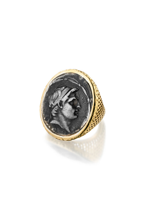 Ray Griffiths 18K Yellow Gold Vintage Greek Coin Ring